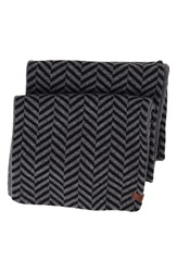 Ben Sherman Reversible Chevron Knit Scarf Jet Black