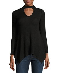 Casual Couture Double Keyhole Long Sleeve Sweater Black