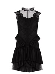 Jonathan Simkhai Ruffle Panel Guipure Lace Dress Black