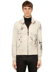 Burberry Painted Light Gabardine Bomber Jacket Honey