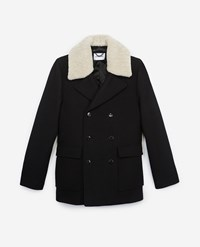 The Kooples Black Wool Double Breasted Pea Coat