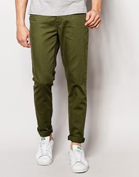Asos Skinny Jeans In Green Thyme