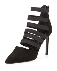 Bae Strappy Point Toe Bootie Black Delman