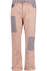 Mcq By Alexander Mcqueen Patchwork Mid Rise Straight Leg Jeans Blush