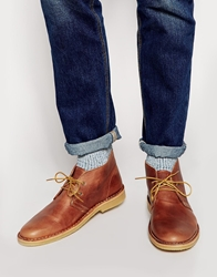 Selected Homme Leather Desert Boots Tan