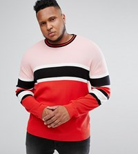 Asos Plus Ribbed Jumper In Red And Pink Stripe Red