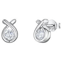 Jools By Jenny Brown Cubic Zirconia Knot Shaped Stud Earrings Silver