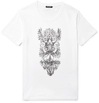 Balmain Printed Cotton Jersey T Shirt White