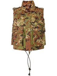 Dsquared2 Camouflage Sequined Gilet Women Polyamide 42 Green