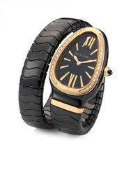 Bulgari Serpenti Diamond 18K Rose Gold And Black Ceramic Wraparound Tubogas Bracelet Watch Black Rose Gold