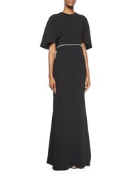 Carmen Marc Valvo Cape Sleeve Embellished Gown Black