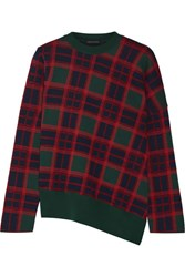 Cedric Charlier Plaid Wool Sweater Forest Green