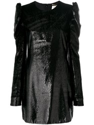 Saint Laurent Metallic Fitted Dress Silk Polyamide Black