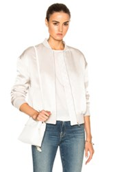 Frame Denim Satin Bomber In Neutrals