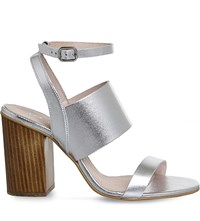 Office Time 3 Strap Metallic Leather Heeled Sandals Silver Leather
