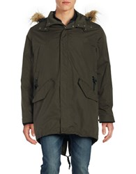Cole Haan Fur Trim Hooded Anorak Parka Olive