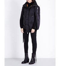 Unravel Distressed Shell Bomber Cape Black