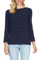 Women's Cece By Cynthia Steffe Horizontal Cable Knit Sweater True Navy