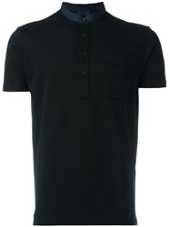 Lanvin Band Collar Polo Collar Black