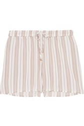 Hanro Lara Striped Voile Pajama Shorts Off White