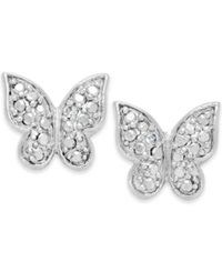 Victoria Townsend Diamond Accent Butterfly Stud Earrings In Sterling Silver