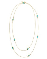 Carelle Blue Topaz Two Strand Leaf Station Necklace 36