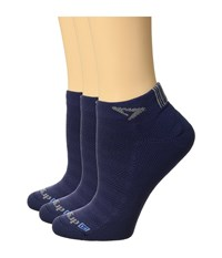 Drymax Sport Run Mini Crew 3 Pair Lite Mesh Navy Crew Cut Socks Shoes