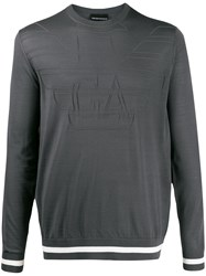Emporio Armani Logo Embroidered Sweater Grey