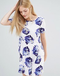 Vero Moda Super Easy Skater Dress In Floral Print Indigo Flower White