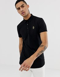 Gym King Polo Shirt In Black With Gold Logo