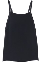 Adam By Adam Lippes Satin Trimmed Crepe Tank Navy