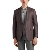 Brioni Ravello Checked Wool Silk Two Button Sportcoat Red