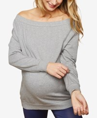 Motherhood Maternity Off The Shouler French Terry Sweatshirt Grey