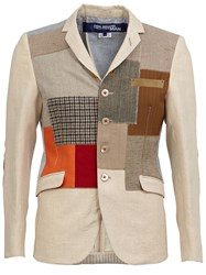 Junya Watanabe Comme Des Garcons Man Patchwork Blazer Nude And Neutrals