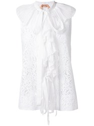 N 21 No21 Lace Embroidered Blouse Women Silk Cotton Polyamide 44 White