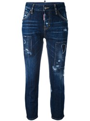 Dsquared2 London Cropped Jeans Women Cotton Polyester 44 Blue