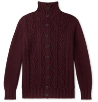 Anderson And Sheppard Cable Knit Merino Wool Cardigan Burgundy