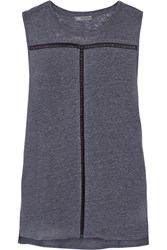 Vince Open Knit Trimmed Linen Top Blue