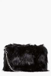 Boohoo Faux Fur Cross Body Bag Black