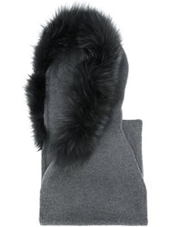 Eleventy Fur Scarf Fox Fur Virgin Wool Grey