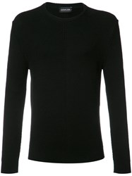Exemplaire English Ribbed Crew Neck Jumper Black