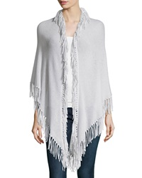 Minnie Rose Cashmere Fringe Trim Wrap Light Gray