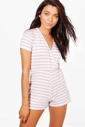 Petite Daisy Wrap Front Striped Playsuit