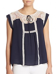 Collective Concepts Crochet Trim Top Navy