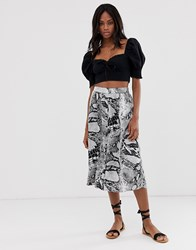 B.Young Snake Print Bias Midi Skirt Multi