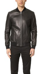 Theory Brant Resonance Leather Bomber Black