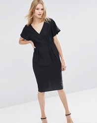 Asos Wiggle Dress With V Front And V Back Black