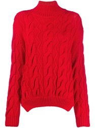 Simone Rocha Cable Knit Sweater Red