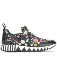 Tory Burch Floral Print Slip On Sneakers