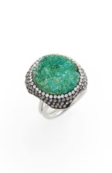 Elise M. Goddess Drusy And Crystal Ring Emerald